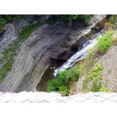 gorge ravine and waterfall from above